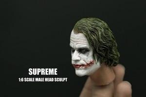 Image 4 - 1/6 Scale Batman Joker Headplay Heath Ledger Head Sculpt with Heavy Makeup Male Headplay for 12 Inches DIY Action Figures