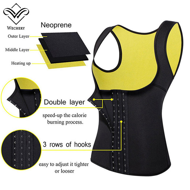 Wechery Slimming Body Shaper Tops Tummy Control Belt Women Modeling Strap Sweat Sport Clothes Neoprene Shapewear Flat Belly 2