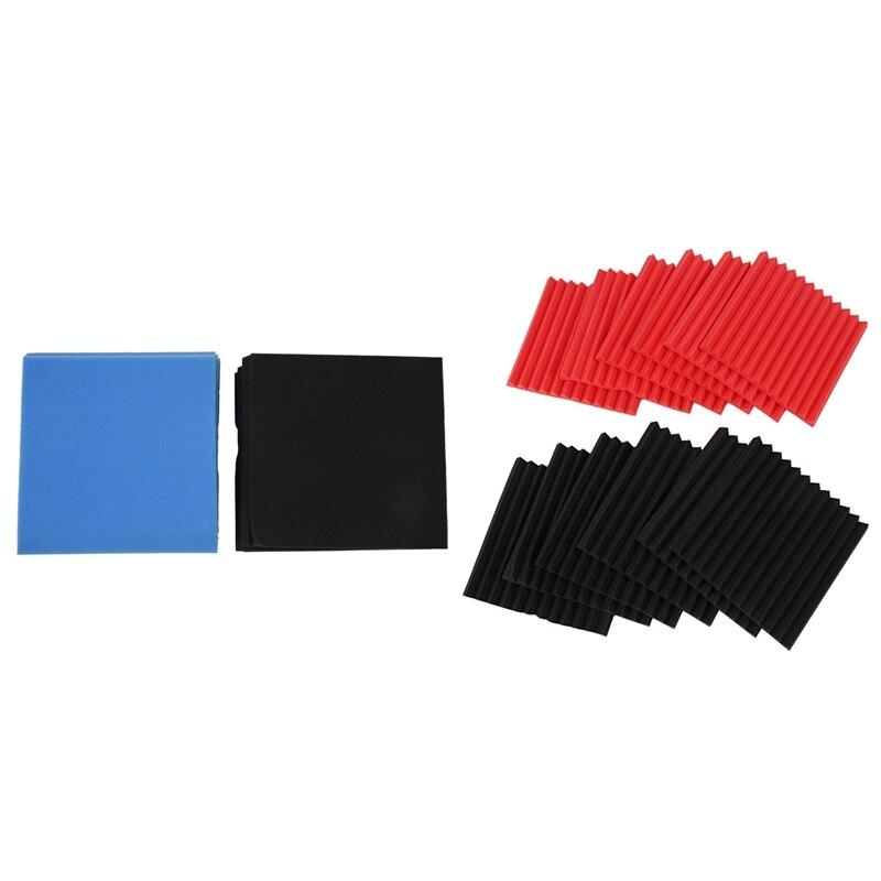 24 Pcs Acoustic Panels Soundproofing Foam Acoustic Tiles Studio Foam Sound Wedges 1Inch X 12 Inch X 12 Inch, 12 Pcs Red + Black