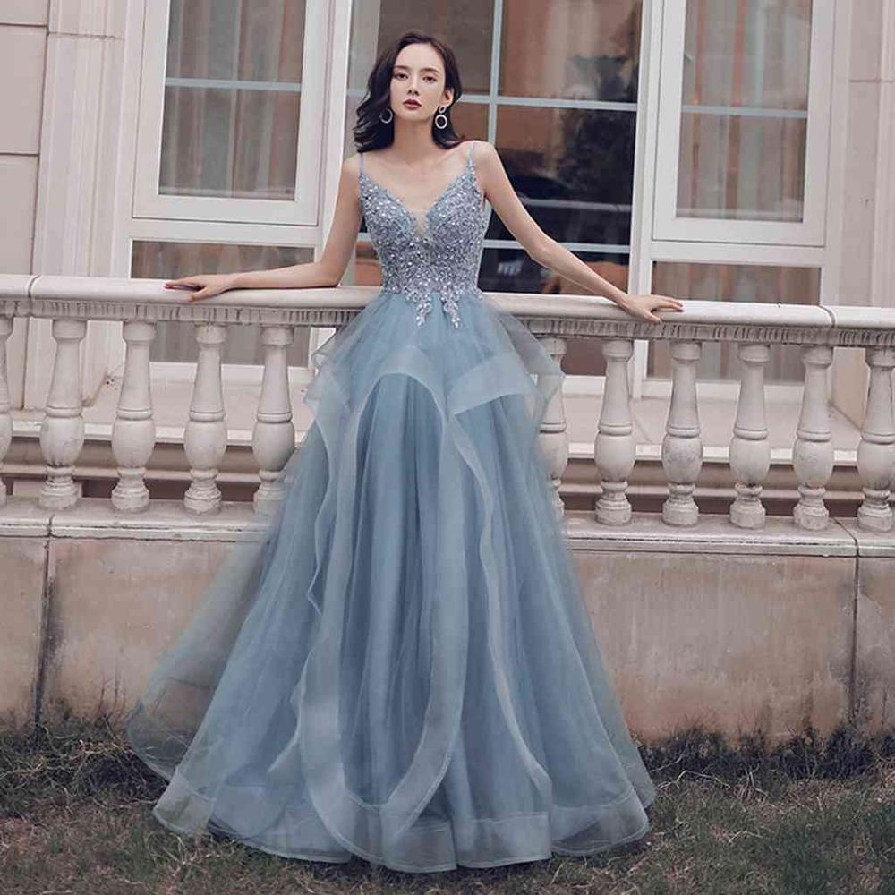 2019 New Grey   Prom     Dresses   Long Spaghetti Straps Sequins Evening Party   Dresses   Applique Ball Gown Backless Plus Size   Dresses