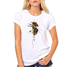 Women Clothes Fashion Cute Let It Bee Animal Cartoon Graphic Short Sleeve Ladies