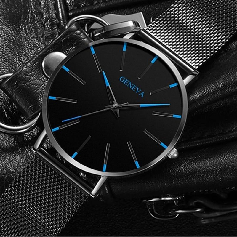 Men's Fashion Ultra Thin Watches Simple Men Business Stainless Steel Mesh Belt Quartz Watch Leather Strap Gift for Boyfriend 4