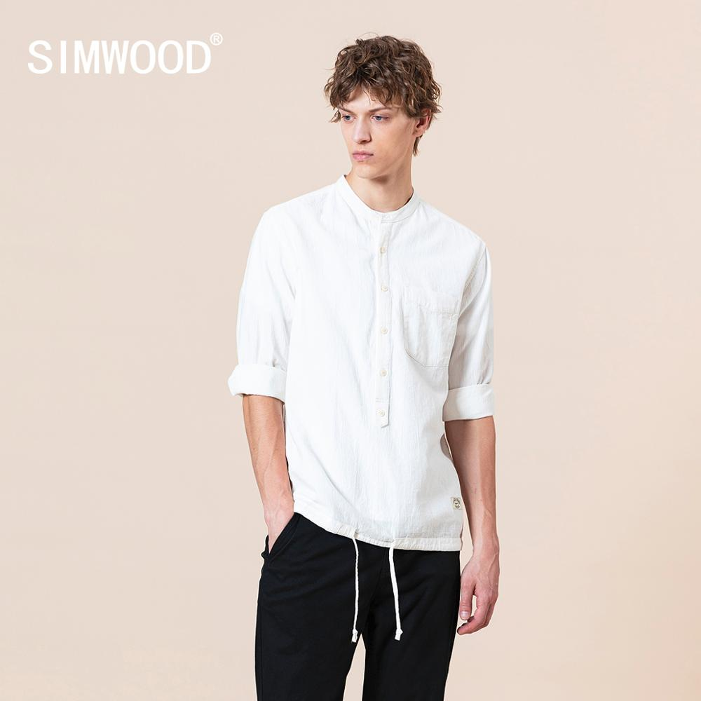 SIMWOOD 2020 Summer New 100% Cotton Shirts Men Fashion Three Quarter Sleeve Half Button Pullover Shirt Plus Size Tops SJ170364