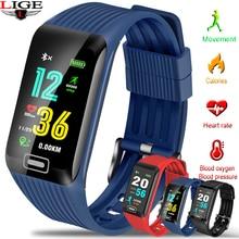 LIGE 2019 New Smart Watch Men Heart rate Blood Pressure Monitor fitness Tracker Bracelet Sports pedometer Watch+Box