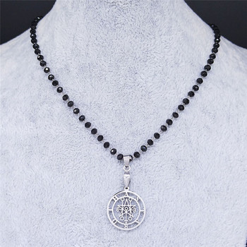 Astaroth Sigil Goetia Crystal Bead Stainless Steel Necklace Solomon Demon Seal Satan Sigil satanique patch PIN Jewelry N21407S02 image