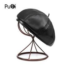 Pudi women genuine leather beret cap hat 2020 brand new men real sheep leather n