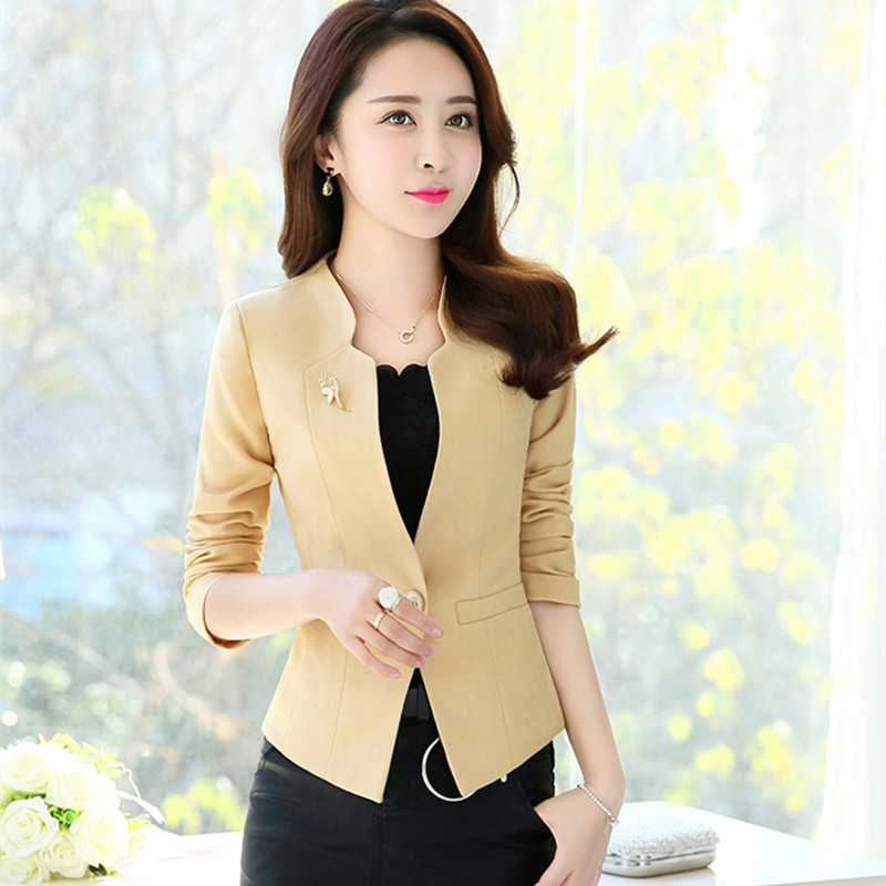 2019 Spring Fashion Women Slim Blazer Jacket Female Coat Elegant Office Ladies Suit Casual Single Button Short Blazers Outerwear