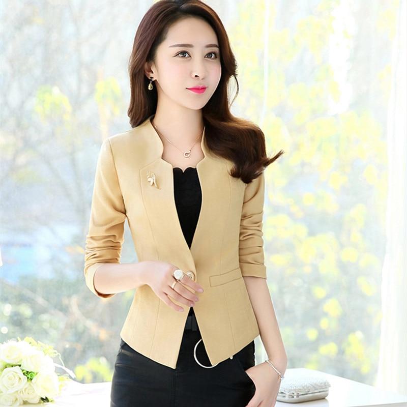 2019 Spring Fashion Women Slim Blazer Jacket Female Coat Elegant Office Ladies Suit Casual Single Button Short Blazers Outerwear