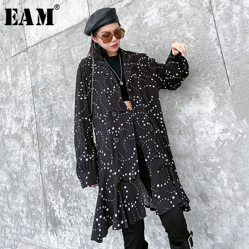 [EAM] Loose Fit Black Pattern Printed Split Ruffles Jacket New Lapel Long Sleeve Women Coat Fashion Tide Spring 2020 1R481