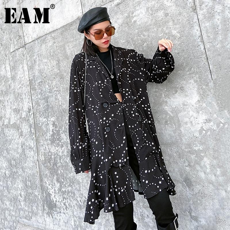 [EAM] Loose Fit Black Pattern Printed Split Ruffles Jacket New Lapel Long Sleeve Women Coat Fashion Tide Spring 2020 1R481
