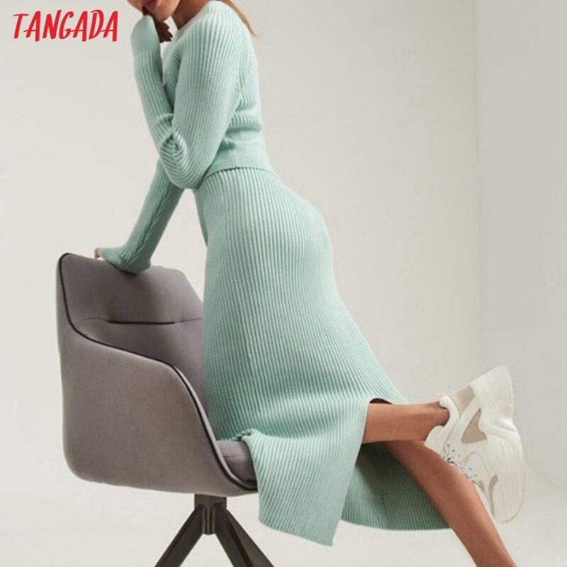 Tangada 2020, Conjunto elegante de chándal de suéter para mujer, conjuntos de traje de Jersey y falda de 2 piezas, conjuntos de falda de jersey con cuello redondo, trajes JE107