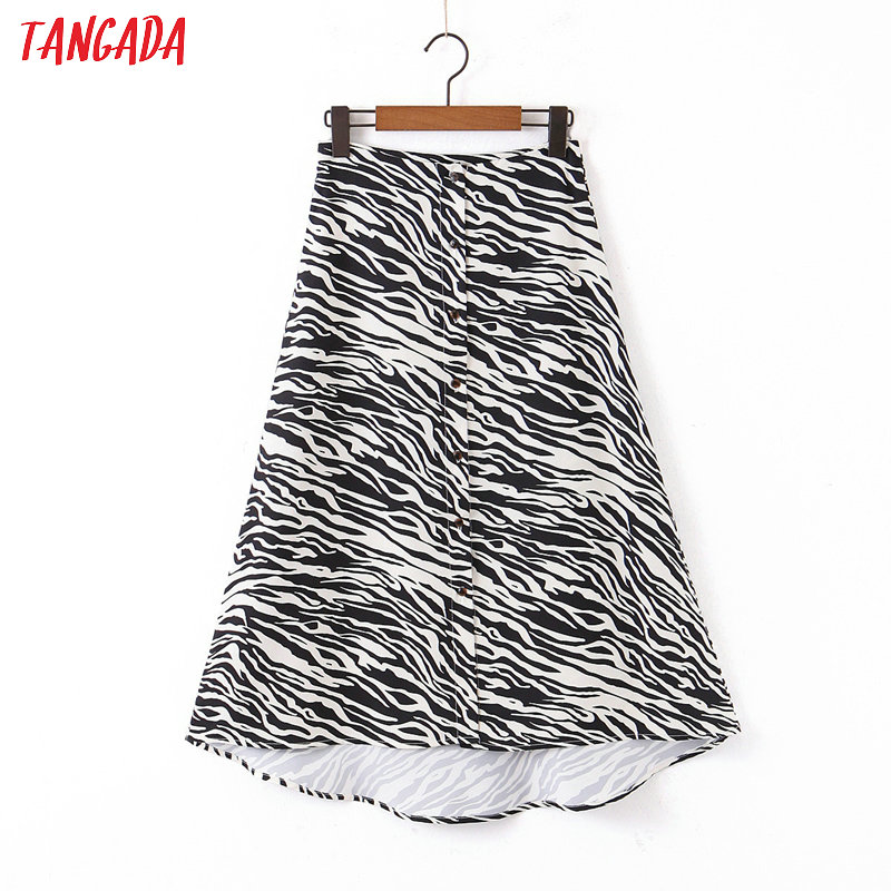 Tangada Women Leopard Print Midi Skirt Faldas Mujer Vintage Buttons Office Ladies Elegant Chic Mid Calf Skirts SL02