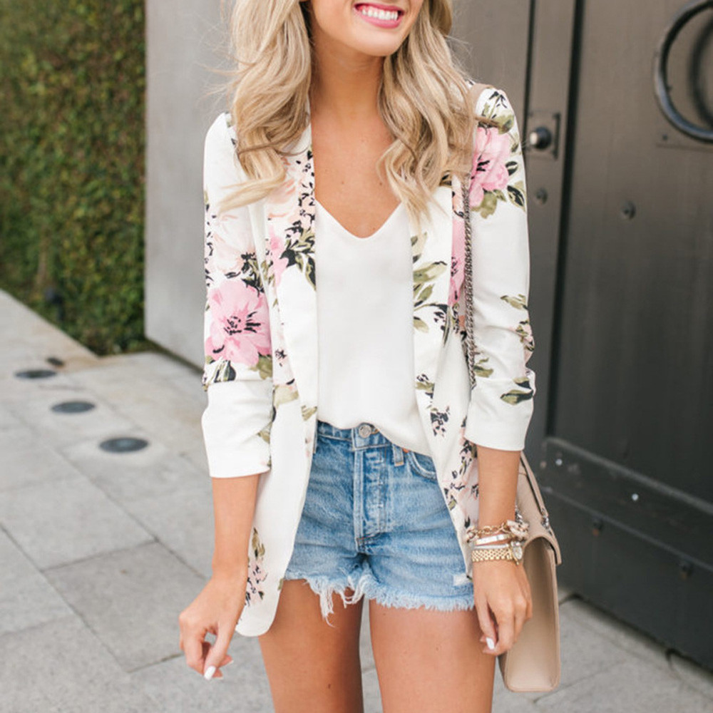 Blazer Woman Nice Suit Top Office Elegant Blazer Floral Spring Jackets Long Sleeve Blazer Notched Collar Coat Feminino Cardigan