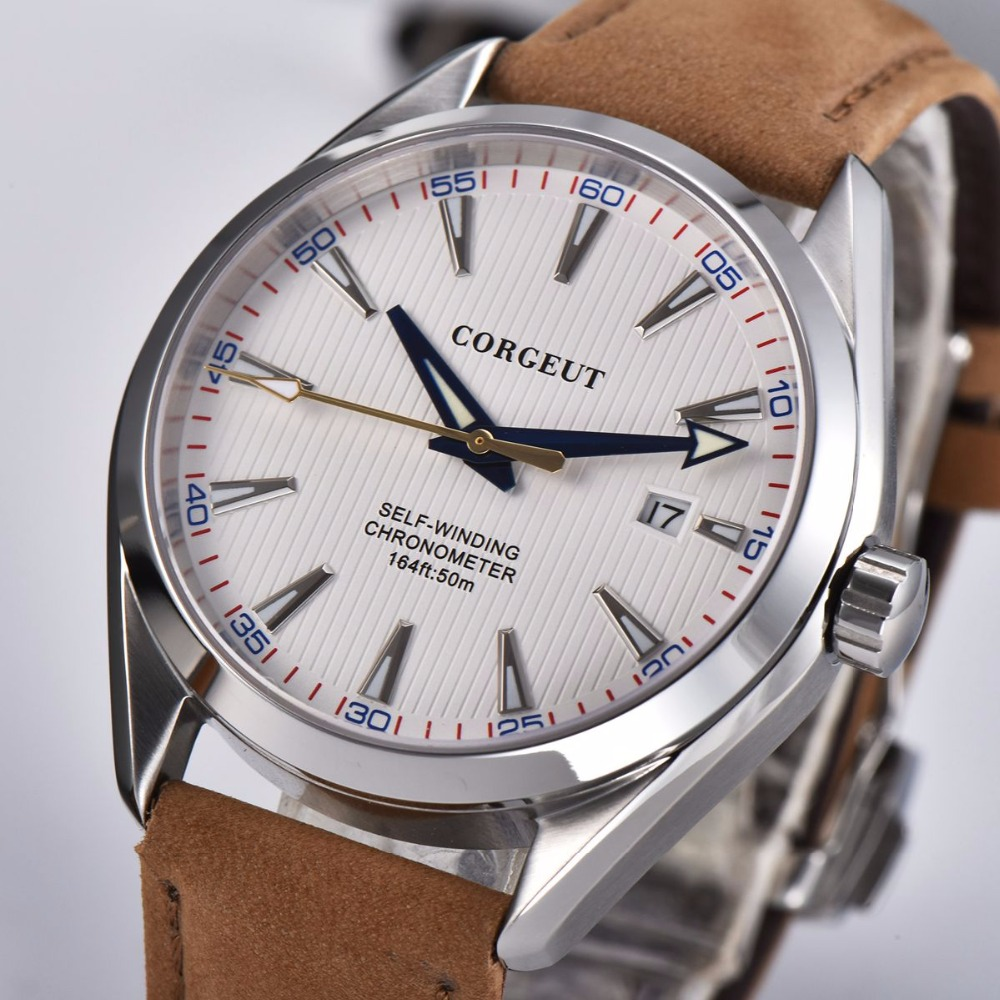 Corgeut 41mm Automatic Mechanical Mens Watch Leather Strap Luxury Brand Sapphire Luminous Waterproof Clock Casual Wristwatch Men 2