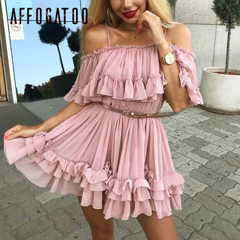 Affogatoo 우아한 프릴 오프 어깨 스트랩 여름 핑크 드레스 여성 캐주얼 쉬폰 pleated 블루 드레스 느슨한 휴일 짧은 드레스