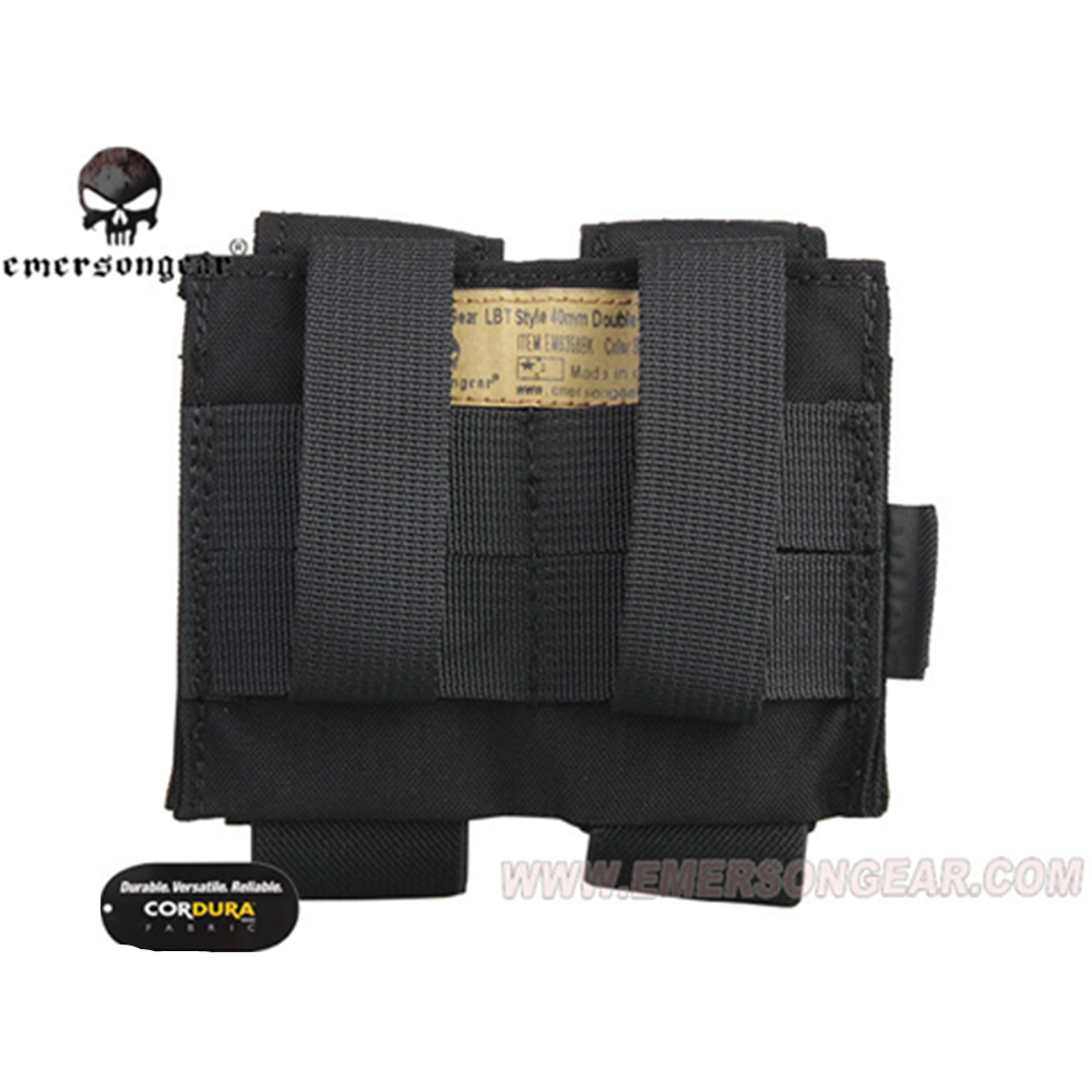 Image 4 - emersongear Emerson Tactical Double 40mm Grenade Pouch 9mm MOLLE Magazine Pouch Holder Carrier Ammo Bag airsoft pouch-in Pouches from Sports & Entertainment