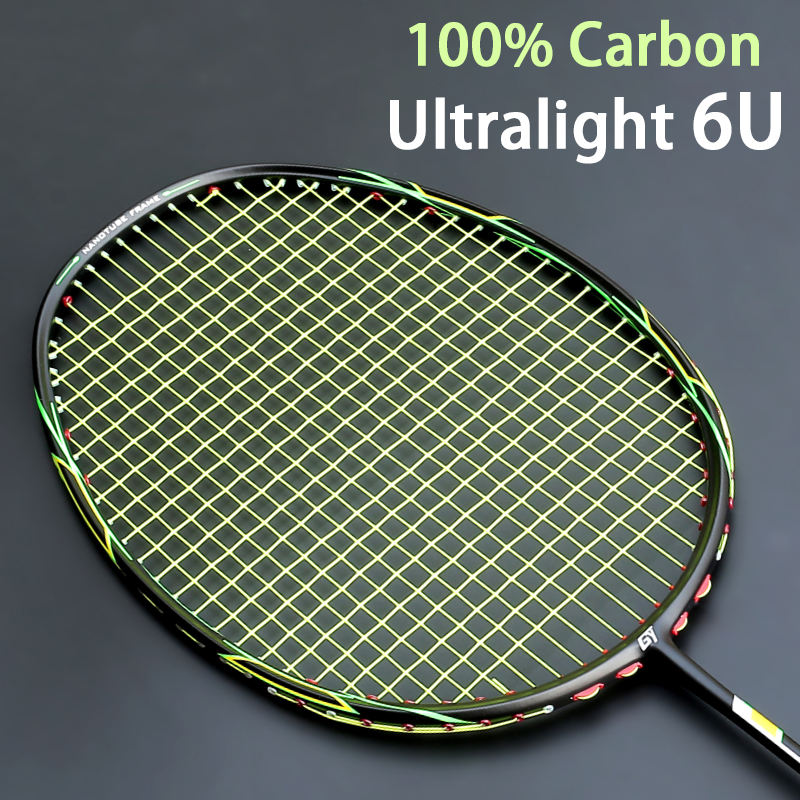 Ultralight  6U Full Carbon Fiber Badminton Racket Strings With Bags Padel Professional Rackets Racquet Speed Z Force