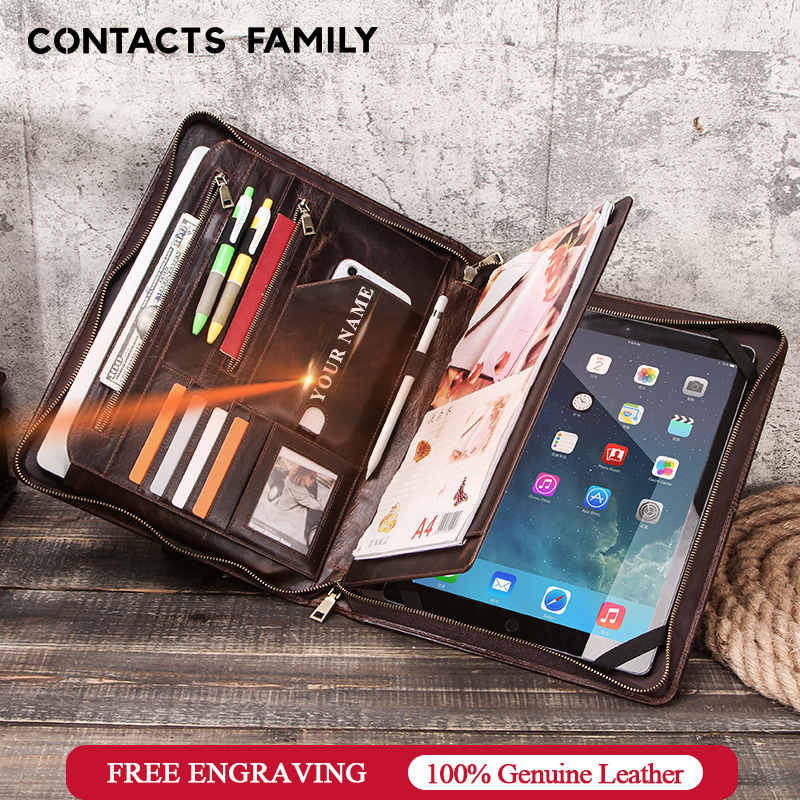 """CONTACT'S FAMILY Retro Padfolio Cow Leather Case for iPad Pro 12.9"""" 2020 Journal Document A4 Portfolio bag For 13.3"""" Macbook Air(China)"""