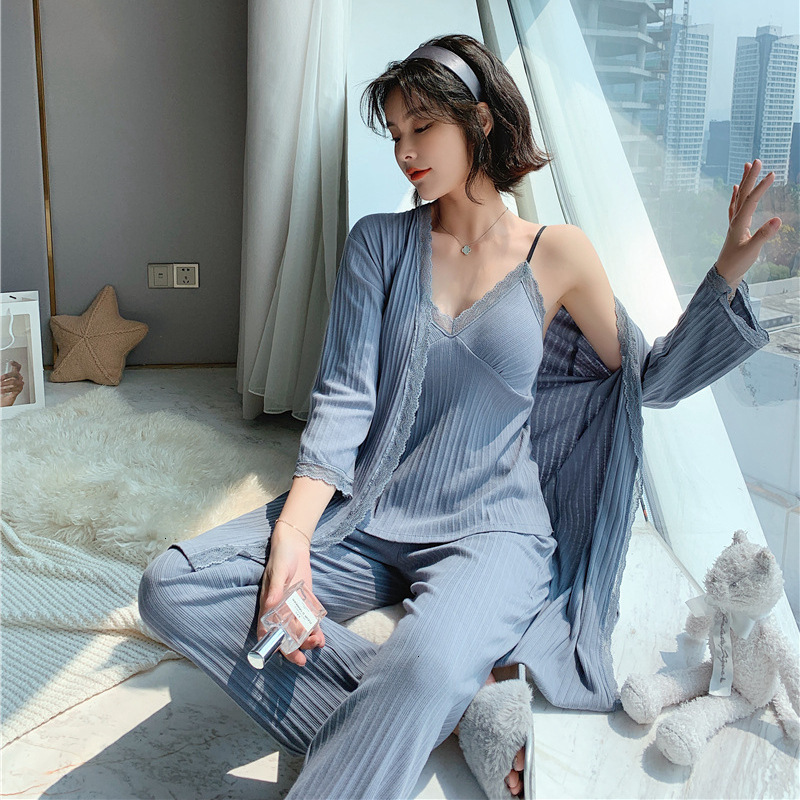 2019 Winter New 3 Pcs Long Sleeve Pajams Woman Pure Cotton Thicken Lace Sexy Spaghetti Strap Cardigan Trouser Set Bathrobe