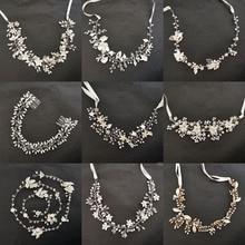 Floralbride Handmade Wired Rhinestone Crystal Freshwater Pearls Wedding Headband Bridal Hair Vine Accessories Women Jewelry