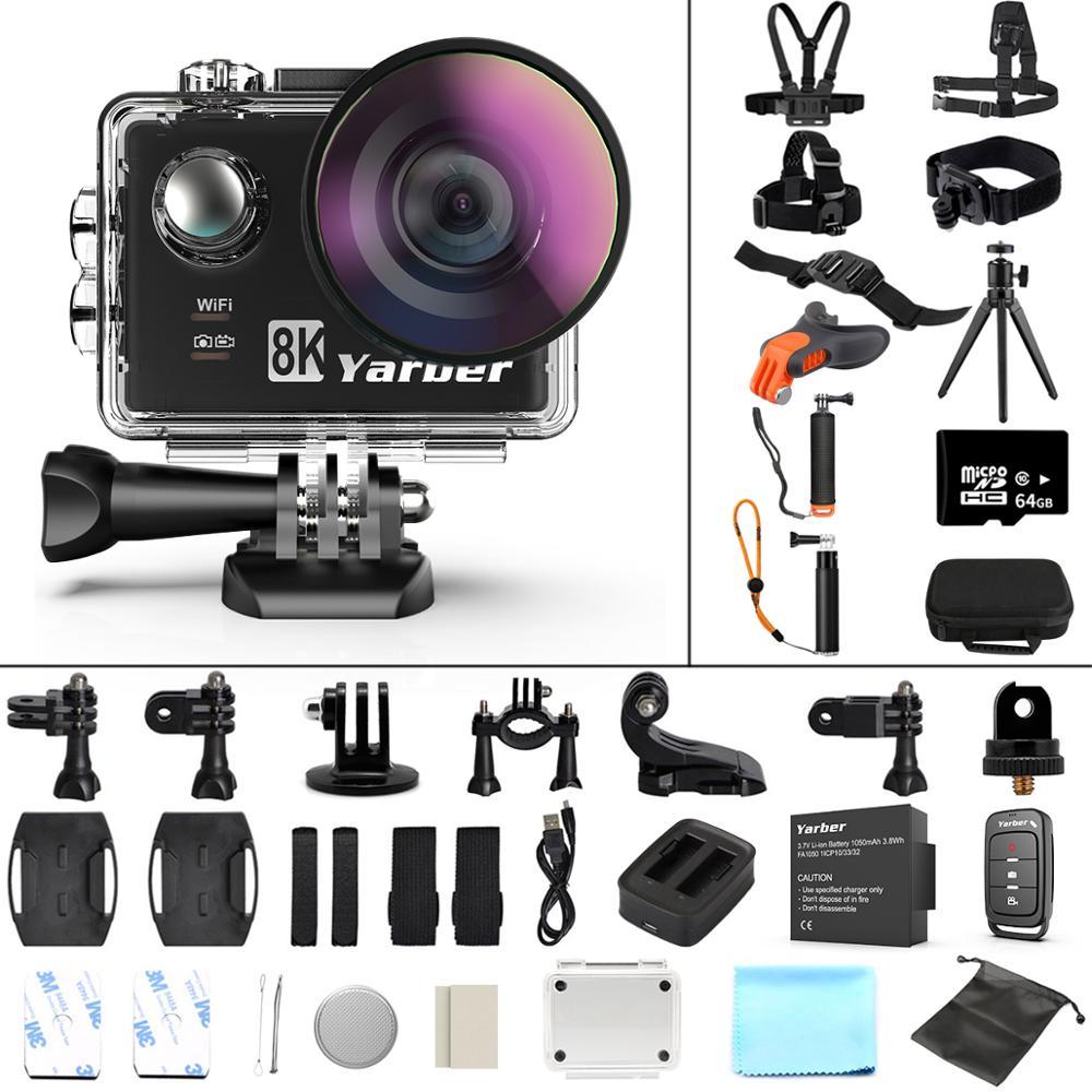 Yarber 8K Action Sports Camera WIFI 4K 60fps kask rowerowy Action Camera 40M wodoodporna kamera nurkowa Dash Cam ze zdalną aplikacją
