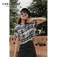 Summer Top Cheeart Designer Tee-Shirt Short-Sleeve Crop-Top T-Shrit Femme Women Tie-Dye
