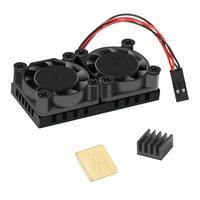 Raspberry pi kit ventilador duplo de refrigeração (2 ventiladores + hestsink fita adesiva) 2 pcs dissipadores de calor para raspberry pi 3 b +|Acessórios p/ quadro de demonstração|Computador e Escritório -