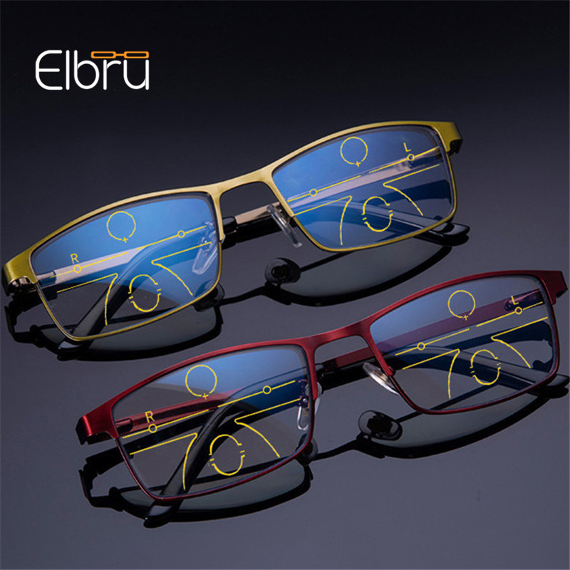 Elbru Anti Blue Light Alloy Frame Reading Glasses Women &Men Progressive Multifocal Glasses Diopter +1.0+1.5to+3.5