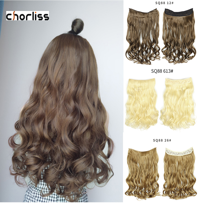 Invisible Wire Synthetic No Clip One Piece Hair Extensions Fish Line False Hair Hairpiece  Long Wavy Hair Weaves For Women