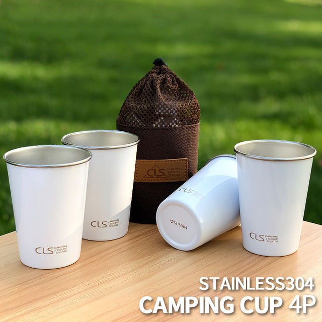 Outdoor 304 stainless steel cup camping set of 4 cups picnic barbecue beer mug mountain climbing cup tea milk coffee cup Camping