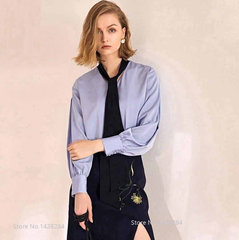 Nouveau automne Sexy femmes lanterne manches chemise mode cravate lâche femme à manches longues blouses décontractées hauts respirant confortable