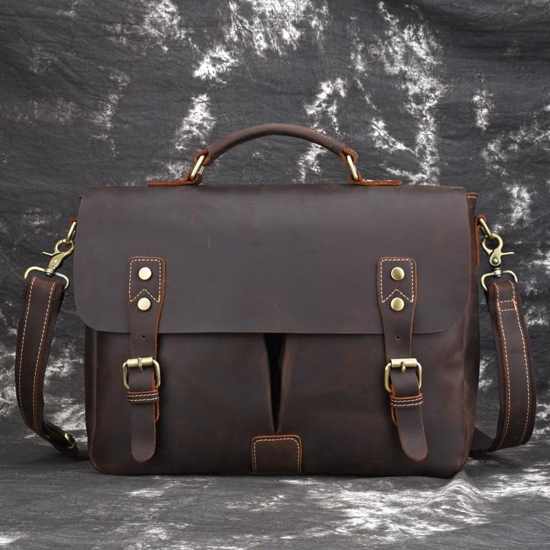 Norbinus Vintage Men Briefcases Genuine Leather Bag Real Skin High Quality Messenger Shoulder Bag Business Laptop Document Bags