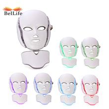Facial Rejuvenation Neck Mask Beauty Device Rechargeable 7 Colors Led Mask Facial Lifting Anti Acne Wrinkle LED Photon Therapy(China)