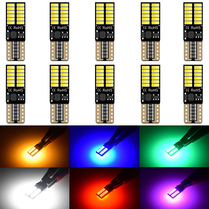 10pcs T10 <font><b>LED</b></font> CanBus bulbs 194 168 <font><b>W5W</b></font> Error Free Super Bright 4014SMD car interior Dome Reading Front Sidemarker lights bulbs image