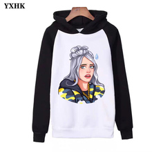 Rapper Singer Billie Eilish Print Hoodie Hot Sale Woman's Popular Clothes 2019 Casual Harajuku Raglan Hoody Sweatshirt Mujer