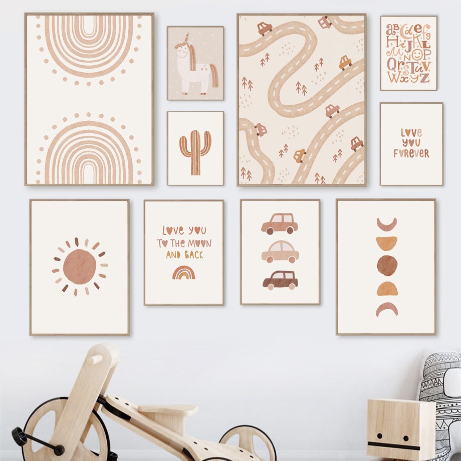 Unicorn Cactus Sun Rainbow Car Letters Abstract Boho Posters And Prints Wall Art Canvas Painting Wall Pictures Baby Kids Room