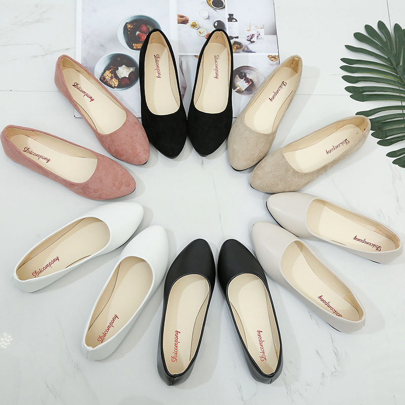 Woman Lady Casual Flock Flats Shoes Women Pointed Toe Slip On Boat Sho