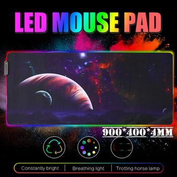 Alfombrilla de ratón para juegos RGB alfombrilla para jugador de gran tamaño LED brillante extendido iluminado teclado USB alfombrilla de ordenador Accesorios para juegos