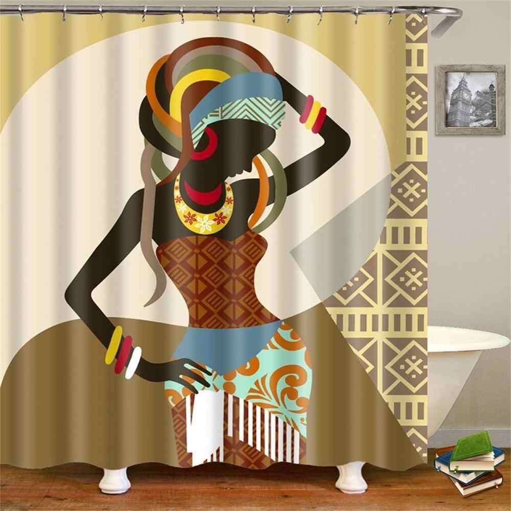 Cortina de ducha negra para mujer africana para Mujeres Afro Lady Girls cortinas de baño de tela impermeable Pantalla de baño con ganchos