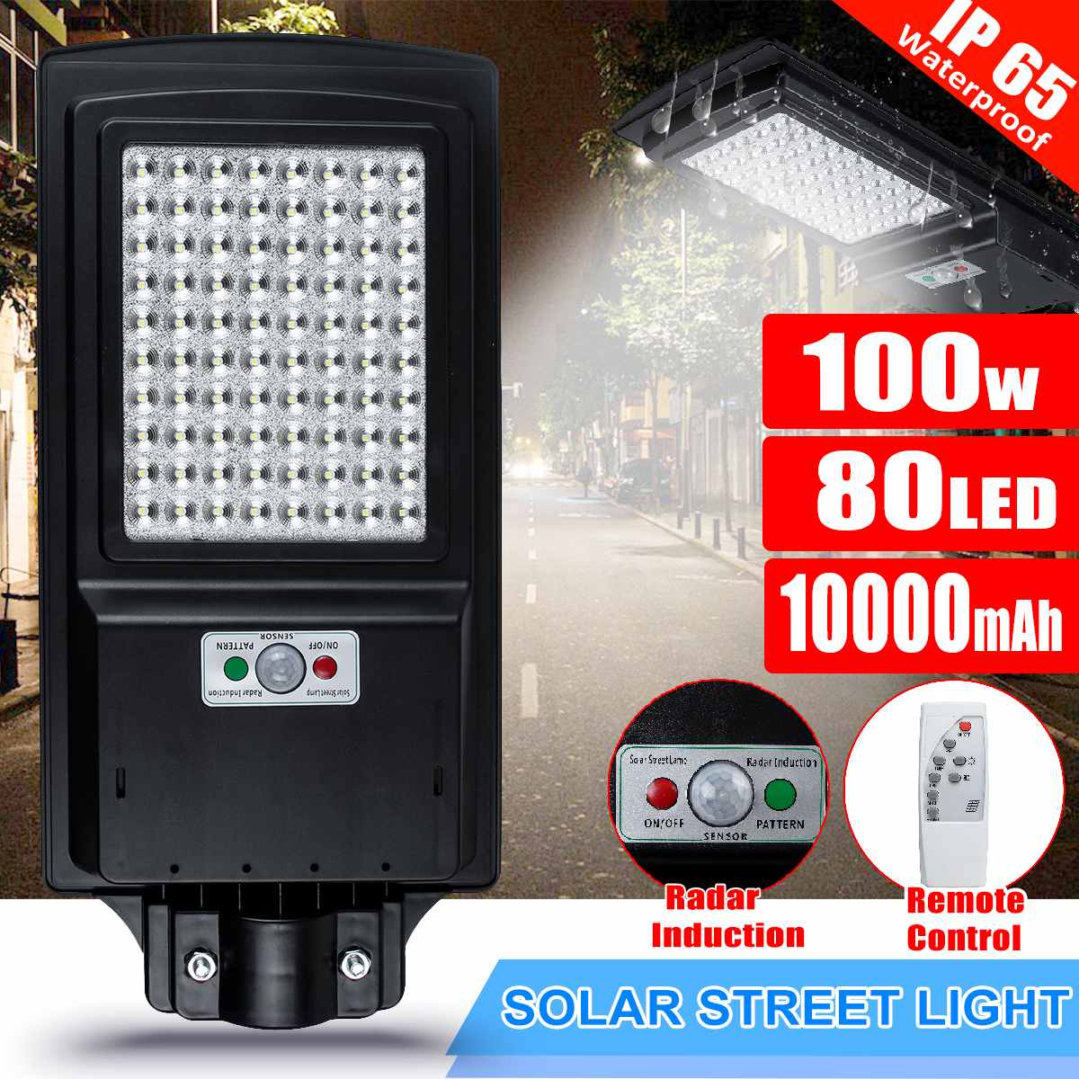 100W 80 LED Wall Lamp IP65 Solar Street Light Radar Motion 2 In 1 Constantly Bright & Induction Solar Sensor Remote Control