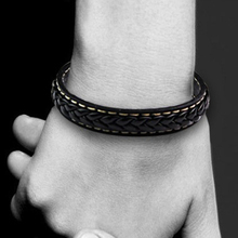 Braid Leather Bracelet Titanium Stainless Steel Men Woven Bangle Black Punk
