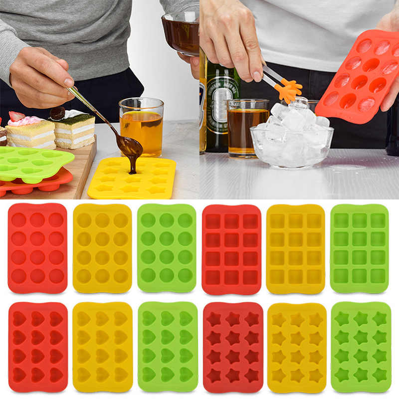 Popular 1PC 12 Grid Square Chocolate Mold Creative Round Cake Mold Silicone Ice Cube Star Heart Jelly Mold Kitchen Accessories
