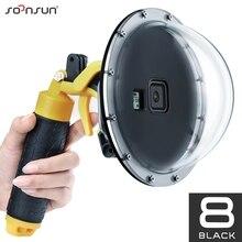 Soonsun 45M Waterdichte Duiken Dome Poort Lens Cover Behuizing Case W/Pistol Trigger Grip Voor Gopro Hero 8 zwart Go Pro 8 Accessoire