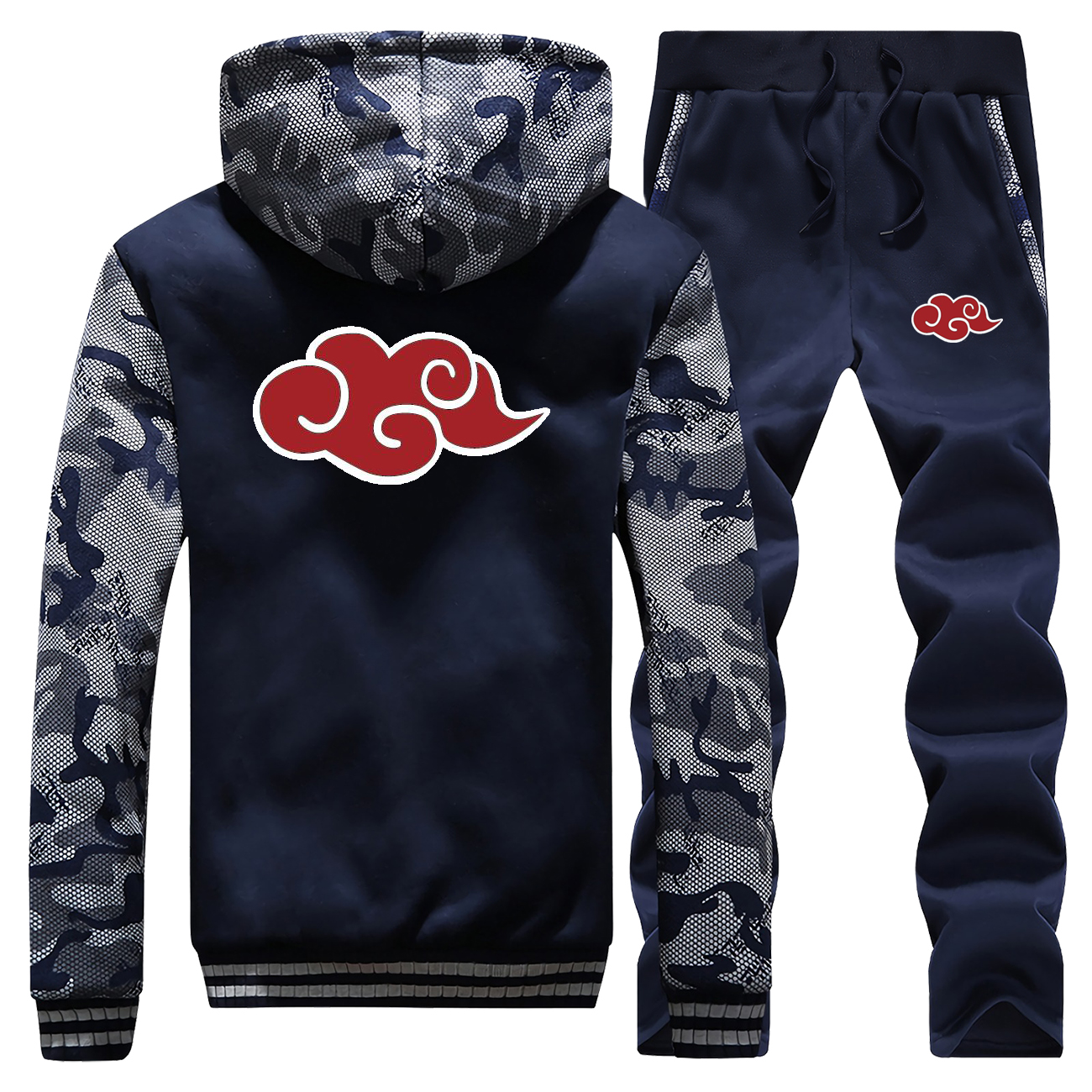 NARUTO Hoodies Pants Set Men Japan Anime Akatsuki Tracksuit Coat Suit Winter Thick Fleece Jacket Camo Plus Size 2 Piece Sets
