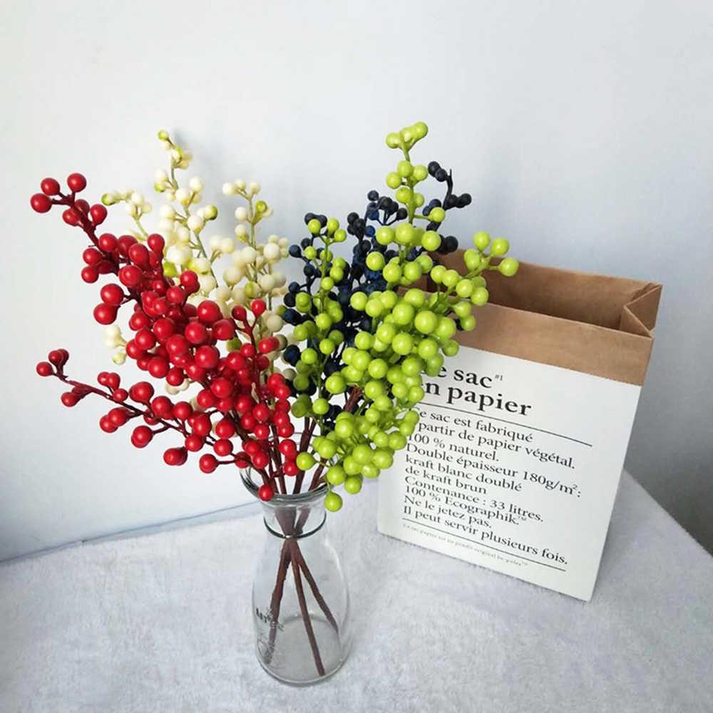Buah Merah Buatan Palsu Bunga Berry Bunga Natal Tahun Baru Dekorasi Tanaman Buatan Natal Dekorasi untuk Rumah