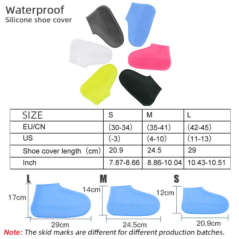Waterdichte Schoen Cover Siliconen Materiaal Unisex Schoenen Beschermers Regen Laarzen Voor Indoor Outdoor Regenachtige Dagen Antislip Wasbaar S /M/L