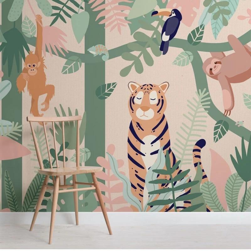 3D Jungle Animals Wallpaper Wall Mural Removable Self-adhesive Sticker B405