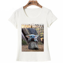 New 2020 Star Wars The Mandalorian Child Baby Yoda Design T-Shirt Women's Fashion Short Sleeve Cartoon Tops Kawaii Girl Tee(China)