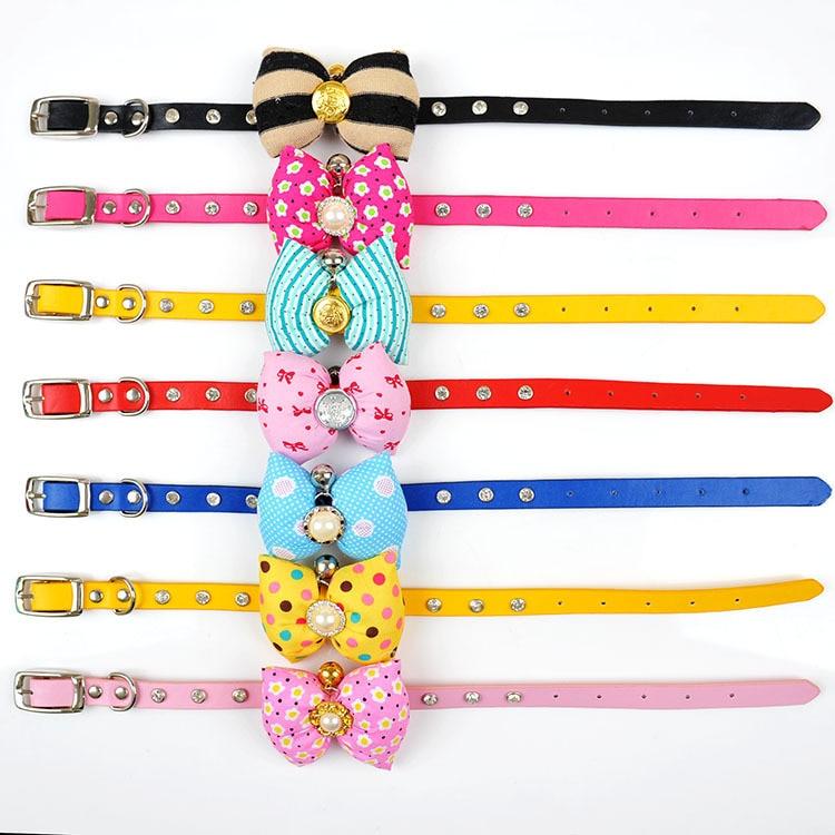 Suede Diamond Luxury Dog Neck Ring Cat Neck Collar Bubble Bow Pet Collar