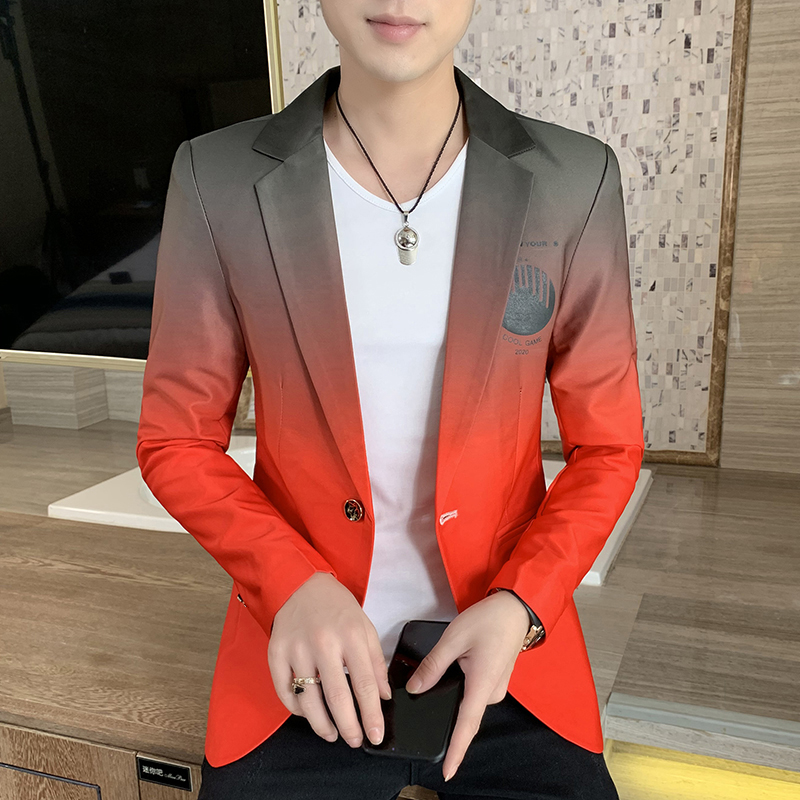 2021 Fall Winter fashion Trend Dress Jacket Blazer Men New Male Gradient Suit Masculino Korean Style Slim Fit Casual